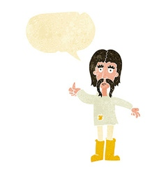 Cartoon hippie man giving thumbs up symbol with vector