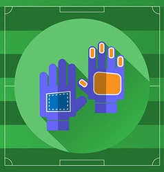 Soccer goalkeeper blue gloves round icon vector