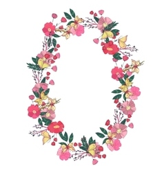 Floral wreath made of wildflowers vector