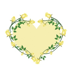 Yellow roses flowers in a heart shape vector