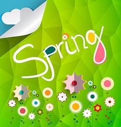 Spring title on triangle green background with vector