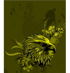 Eagle head with floral background vector