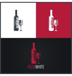 wine bottle and glass logo background vector image
