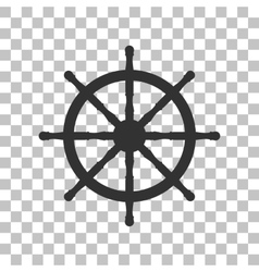 Ship wheel sign dark gray icon on transparent vector