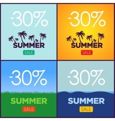 Set of summer sale promotion posters vector