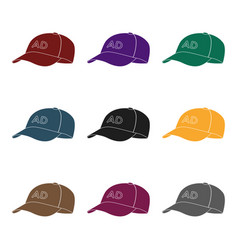 baseball cap advertising icon in black style vector image