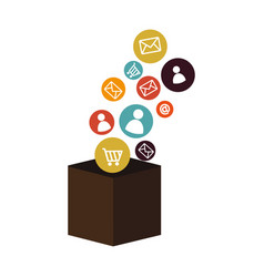 Box with social media icons vector