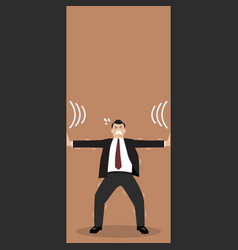 businessman pushing against squeezing walls vector image vector image