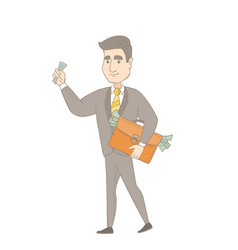 Caucasian businessman with briefcase full of money vector