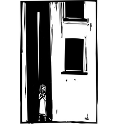 Child alone in alley vector