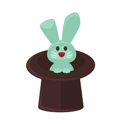 Circus magician hat and bunny flat cartoon vector