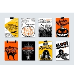 Collection of happy halloween and party typography vector image