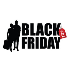 couple silhouette with black friday vector image