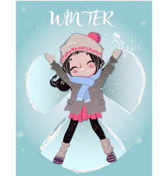 cute cartoon winter girl vector image vector image