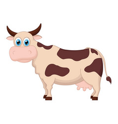 cute cow cartoon standing vector image