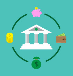 financial institution and money saving vector image