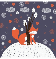 Fox drawn background vector