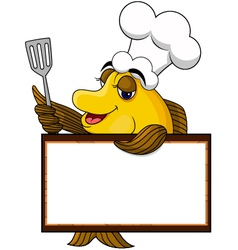funny yellow cartoon cook fish with blank sign vector image