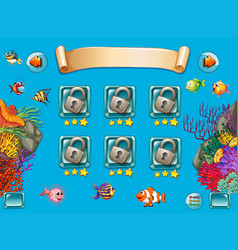 game template with sea swimming underwater vector image vector image