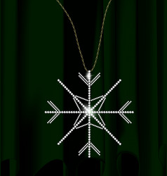 Green drape and jewel snowflake vector