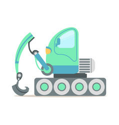 Green excavator truck construction machinery vector