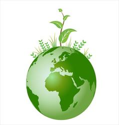 Green plant on earth vector image vector image