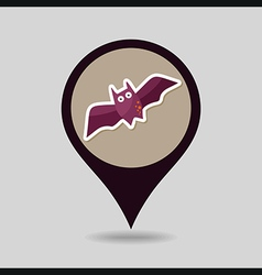 Halloween bat mapping pin icon vector