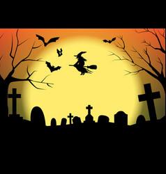 Halloween silhouette graveyard vector