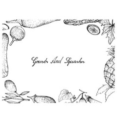 Hand drawn of gourd and squash fruits frame vector