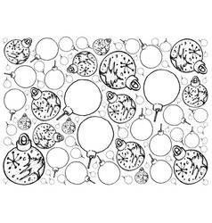 Hand drawn of lovely christmas ornaments backgroun vector