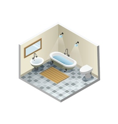 Isometric bathroom set of retro vintage bath vector