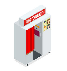 isometric compact photo booth flat 3d isometric vector image