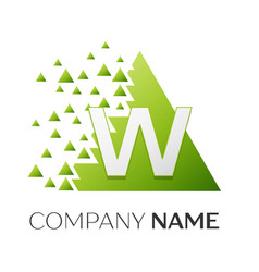Letter w logo symbol in colorful triangle vector