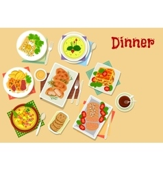 Meat and potato dishes icon for lunch menu design vector image vector image