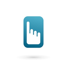 Mobile phone hand touch screen app logo icon vector