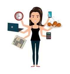 Multitasking person cartoon with icons vector