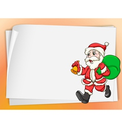 paper sheets and santa vector image vector image