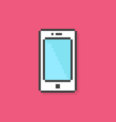 pixel art phone simple icon vector image vector image