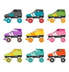 set of flat quad roller skates vector image