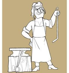 Sketch cartoon fabulous man blacksmith vector