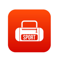 sports bag icon digital red vector image