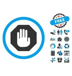 Terminate Flat Icon with Bonus vector image vector image