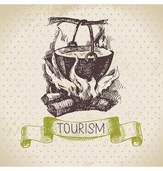Vintage sketch tourism background vector image vector image