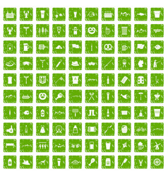 100 beer icons set grunge green vector
