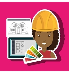 Woman architecture plans vector
