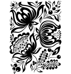 Abstract black and white flowers stylish retro orn vector