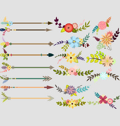 Set of arrows and floral bouquets vector