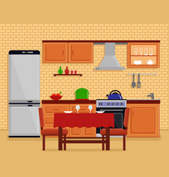 Kitchen interior with table desk vector