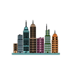 Drawing building towers high town image vector