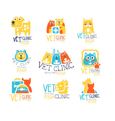 Vet clinic original label design colorful hand vector